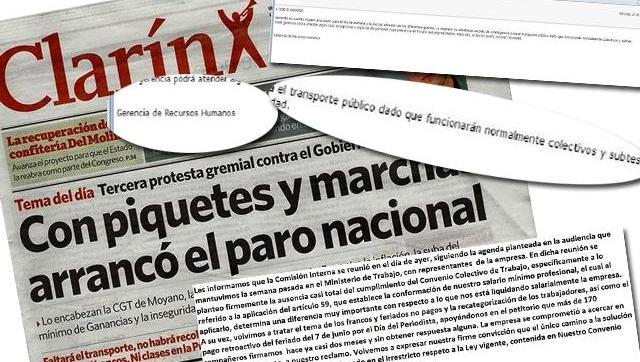 Clarín es vocero del paro, pero exige la presencia de sus empleados