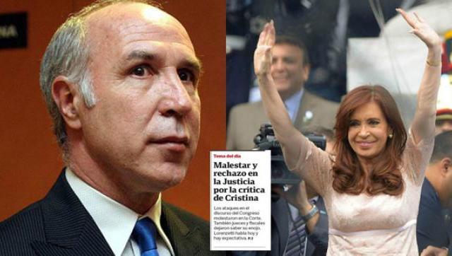 El partido judicial, a la carga en la portada de Clarín