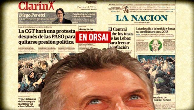 Mirá los insólitos titulares de los medios oficialistas sobre la represión en Pepsico