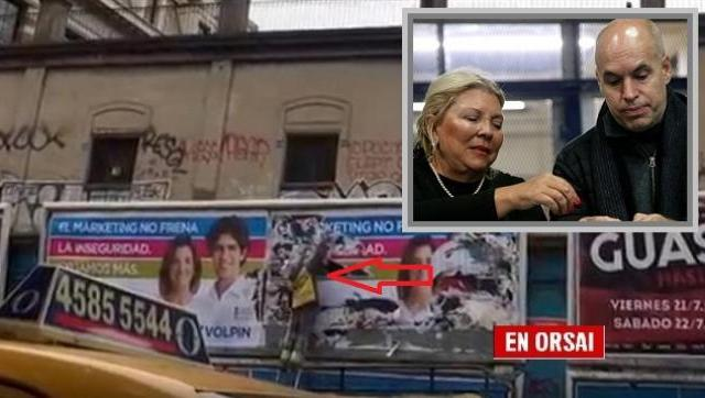 El PRO arranca los carteles de opositores a Carrió con trabajadores porteños