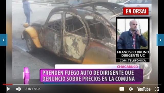 Mientras denunciaba a un intendente de Cambiemos le incendiaron el auto