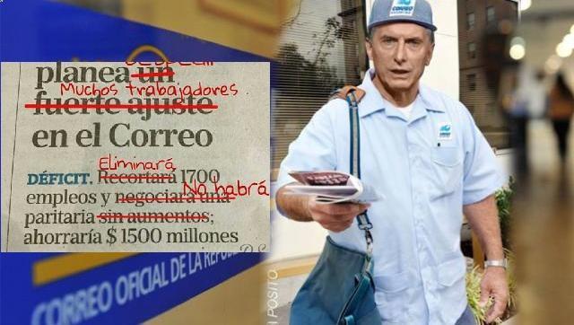 El Diario La Nación oficia como gacetilla de empresa y le avisa a los trabajadores del Correo que vienen despidos y ajuste salarial