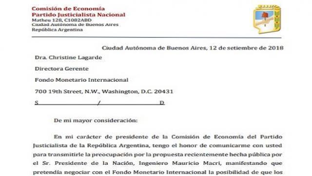La comisión de economía del PJ nacional, pidió una entrevista oficial con el FMI