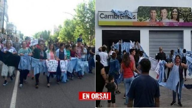 Último día laboral, movilización y escrache en local de Cambiemos