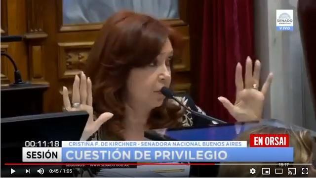"""Cristina en el senado """"estamos ante un sistema muy perverso de extrema gravedad institucional"""""""