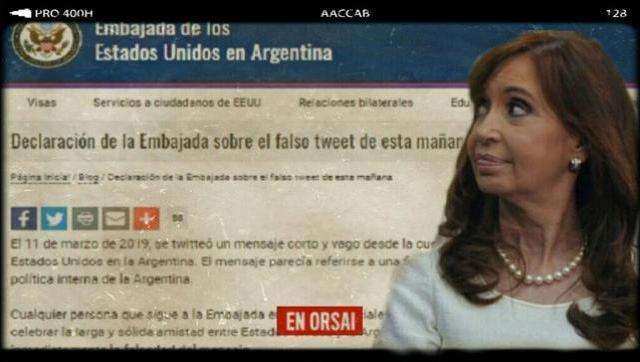 La Embajada de EE.UU. tuvo que dar la cara sobre su tuit anti Kirchnerista