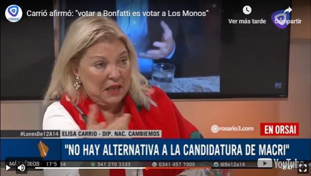 Ahora Carrió dice que si gana Cristina