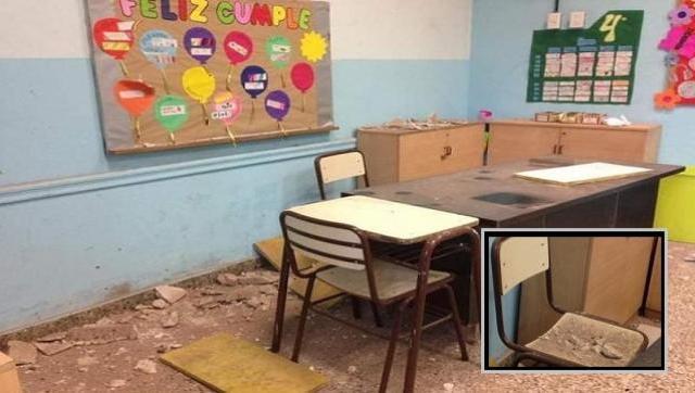 Gestión Larreta: cae mampostería de escuela primaria en plena clase y lastimó a docente