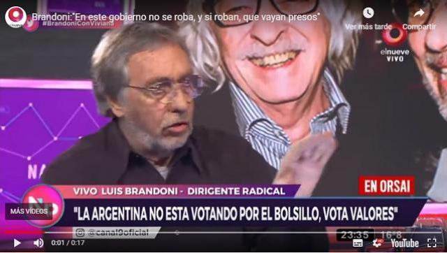 """Luis Brandoni """"En este gobierno no se roba"""