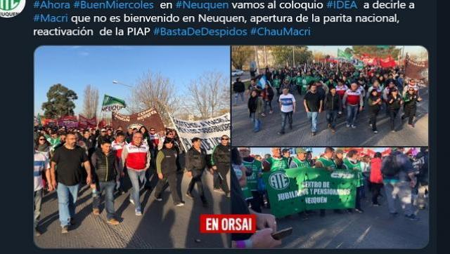 Gran repudio a la visita de Macri y Pichetto en Neuquén