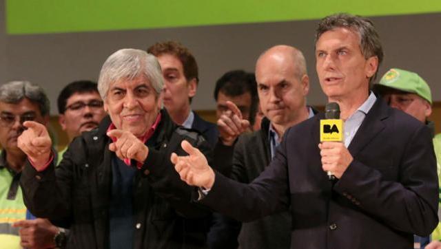 Otros tiempos: Macri y Moyano.