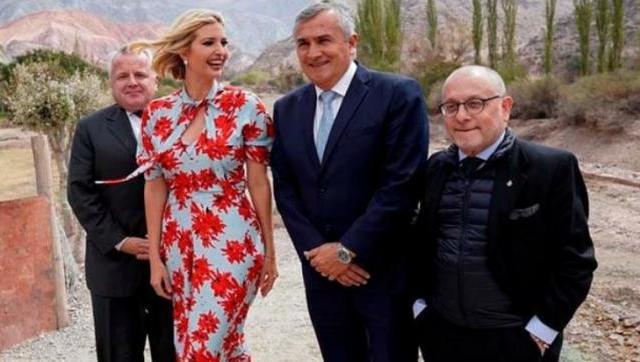Ivanka Trump junto al gobernador jujeño, Gerardo Morales, y el canciller Jorge Faurie, durante su visita al país. - Foto: gentileza