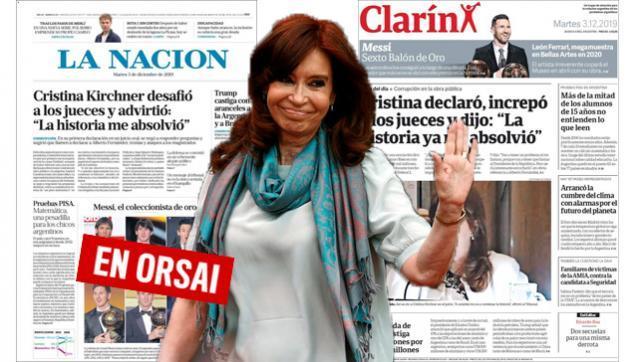 Vuelven a la carga: Clarín y La Nación con la misma portada contra Cristina