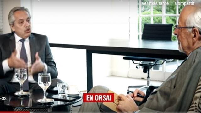 """Alberto con Verbitzky: """"Mauricio Macri se llevó para financiarse todo el dinero de los jubilados"""""""