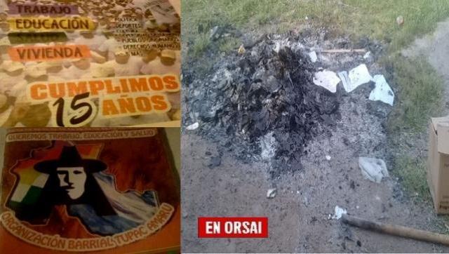 Como en la dictadura: queman libros y revistas de la Tupac Amaru