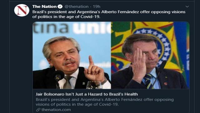 Un semanario estadounidense destacó las diferencias entre Fernández y Bolsonaro ante la pandemia