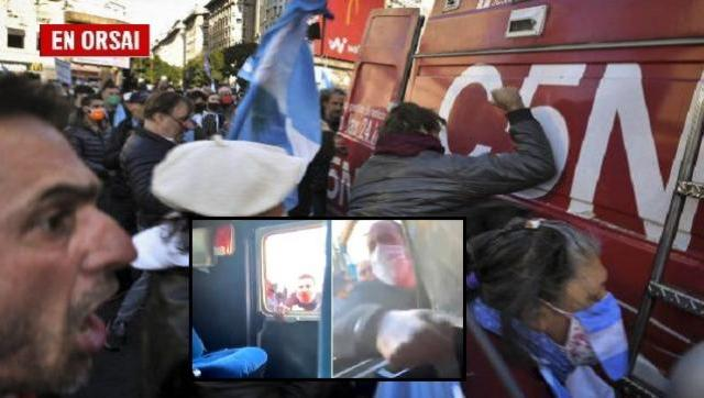 Solidaridad de funcionarios, dirigentes y periodistas con trabajadores de C5N agredidos