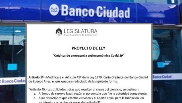 Proyecto para que Banco Ciudad de créditos a tasa cero a comerciantes, cooperativas y productores.